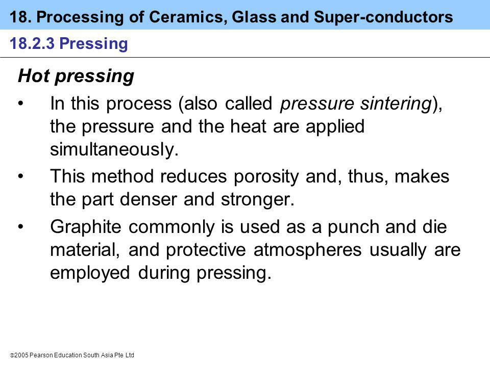18.2.3 Pressing Hot pressing. In this process (also called pressure sintering), the pressure and the heat are applied simultaneously.