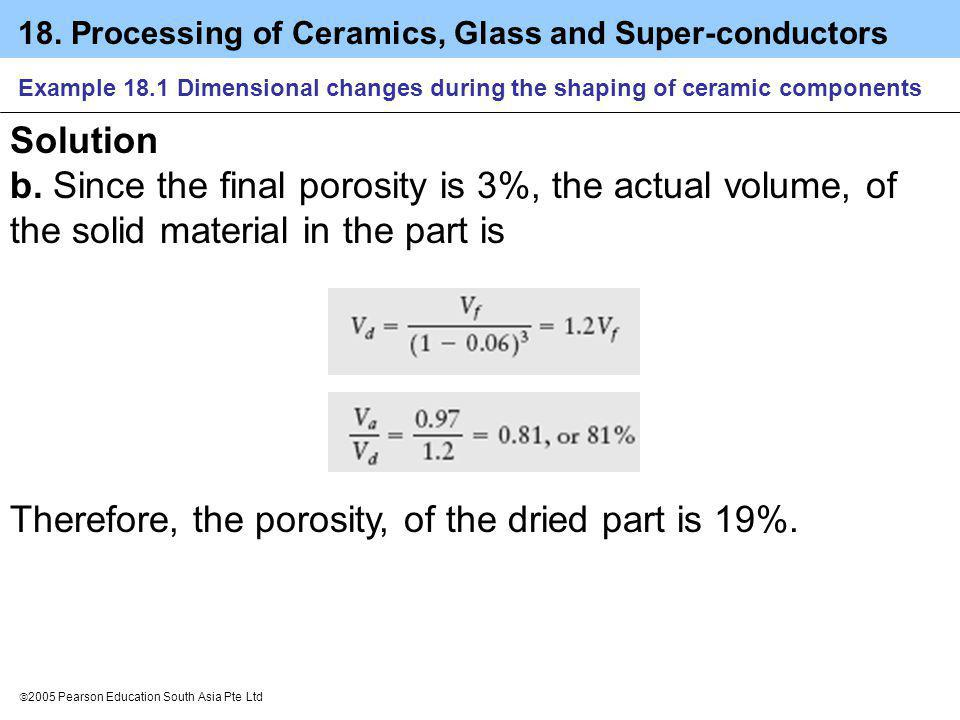 Therefore, the porosity, of the dried part is 19%.