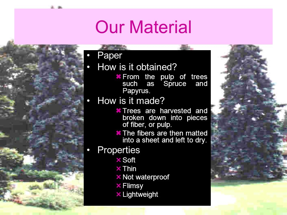 Our Material Paper How is it obtained How is it made Properties