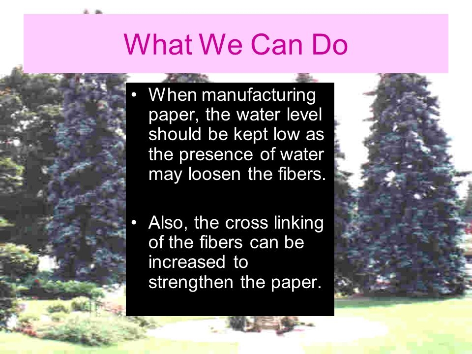 What We Can Do When manufacturing paper, the water level should be kept low as the presence of water may loosen the fibers.