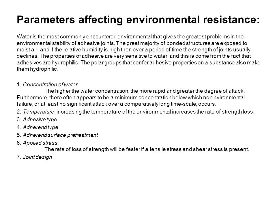 Parameters affecting environmental resistance: