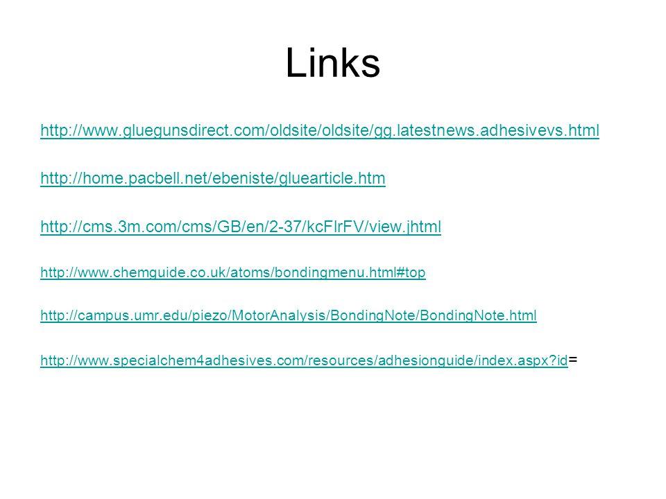 Links http://www.gluegunsdirect.com/oldsite/oldsite/gg.latestnews.adhesivevs.html. http://home.pacbell.net/ebeniste/gluearticle.htm.