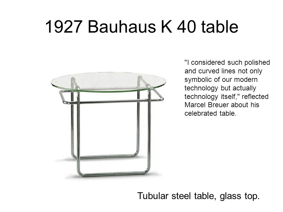1927 Bauhaus K 40 table Tubular steel table, glass top.