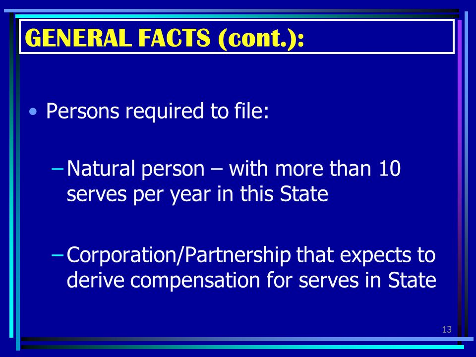 GENERAL FACTS (cont.): Persons required to file: