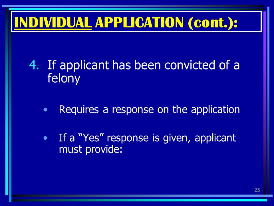 INDIVIDUAL APPLICATION (cont.):