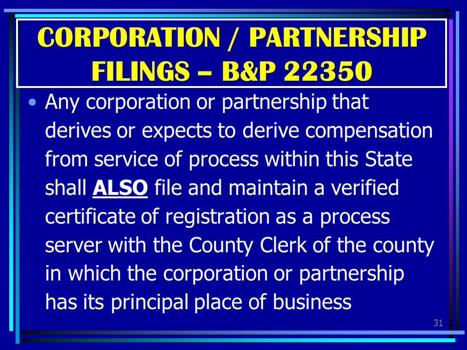 CORPORATION / PARTNERSHIP FILINGS – B&P 22350