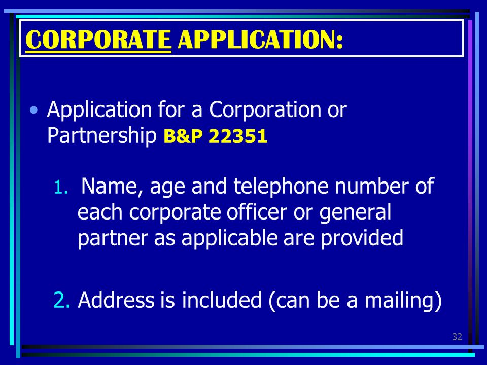 CORPORATE APPLICATION: