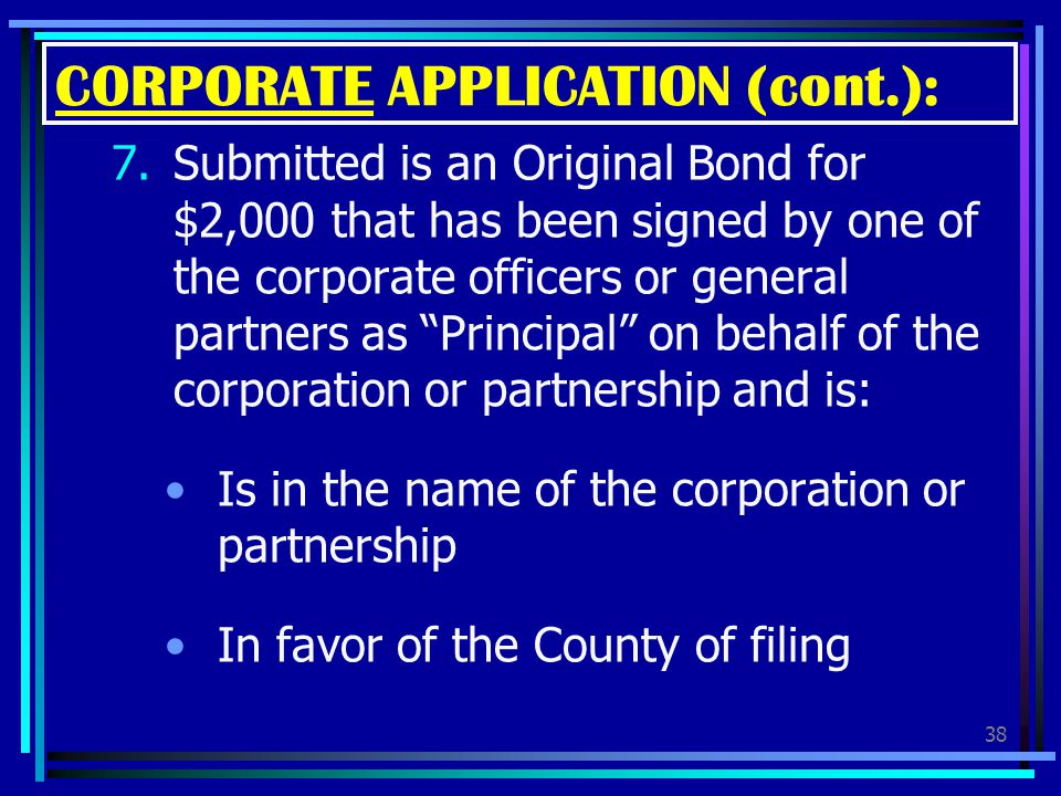 CORPORATE APPLICATION (cont.):