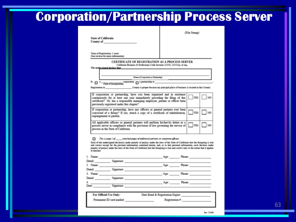Corporation/Partnership Process Server