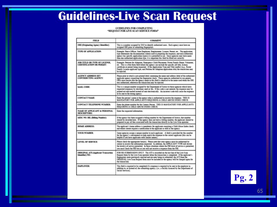 Guidelines-Live Scan Request