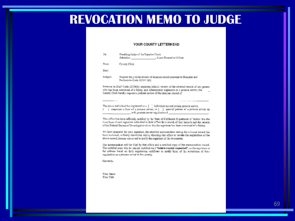 REVOCATION MEMO TO JUDGE