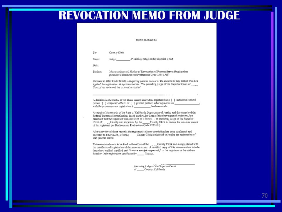 REVOCATION MEMO FROM JUDGE