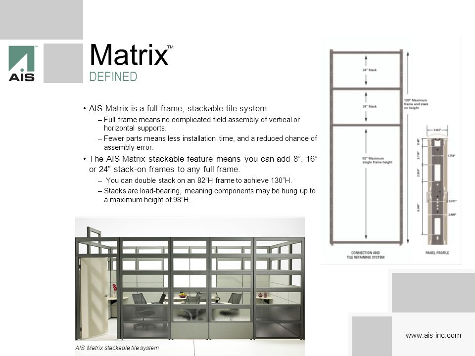 Matrix DEFINED AIS Matrix is a full-frame, stackable tile system.