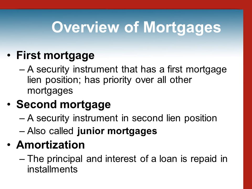 Overview of Mortgages First mortgage Second mortgage Amortization