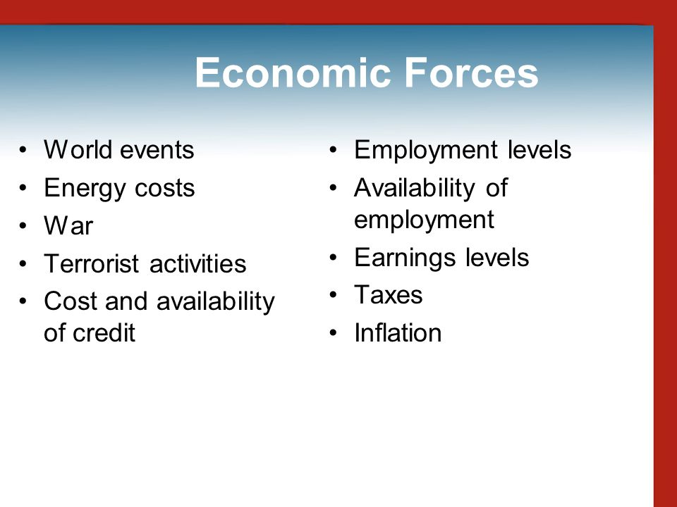 Economic Forces World events Energy costs War Terrorist activities