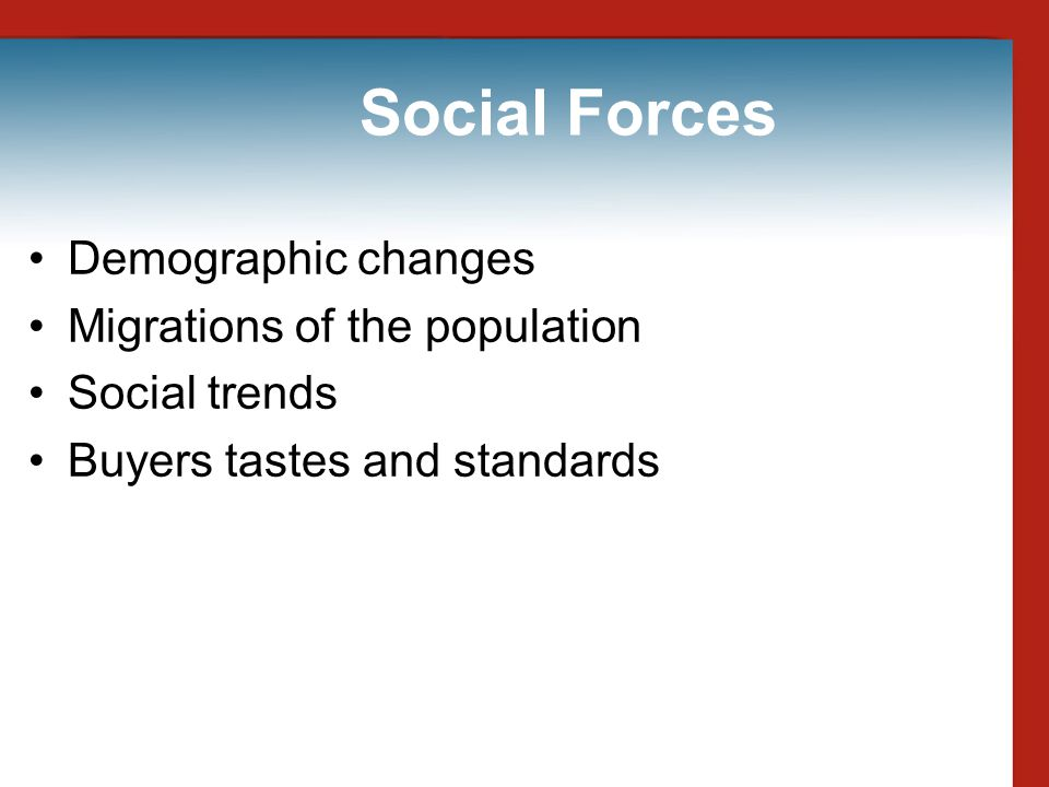 Social Forces Demographic changes Migrations of the population