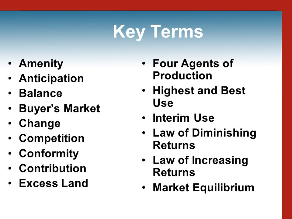 Key Terms Amenity Anticipation Balance Buyer's Market Change