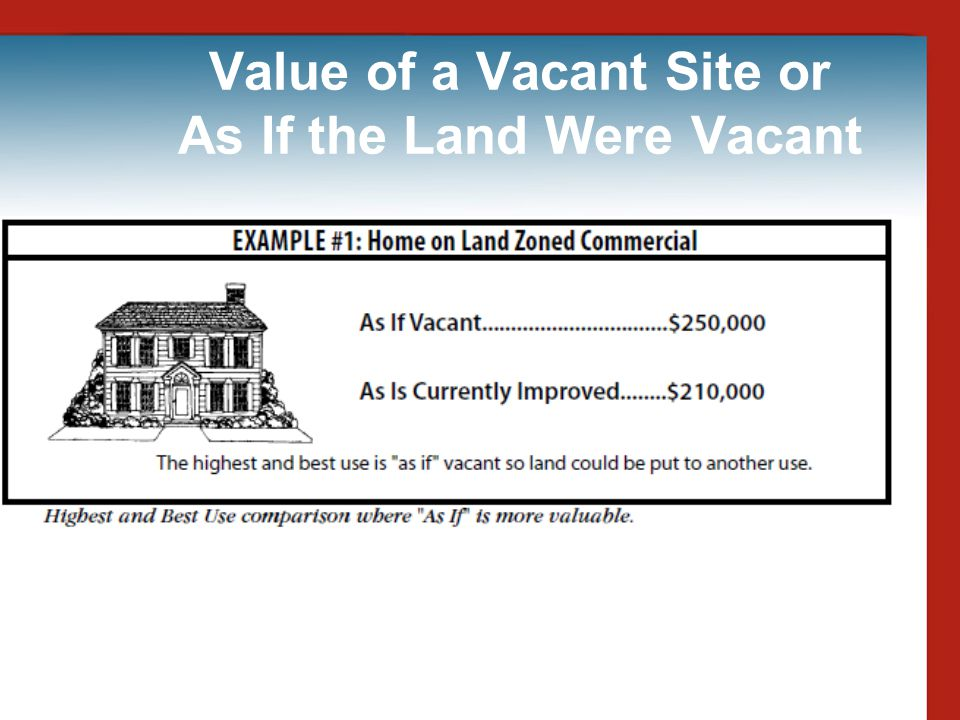 Value of a Vacant Site or As If the Land Were Vacant