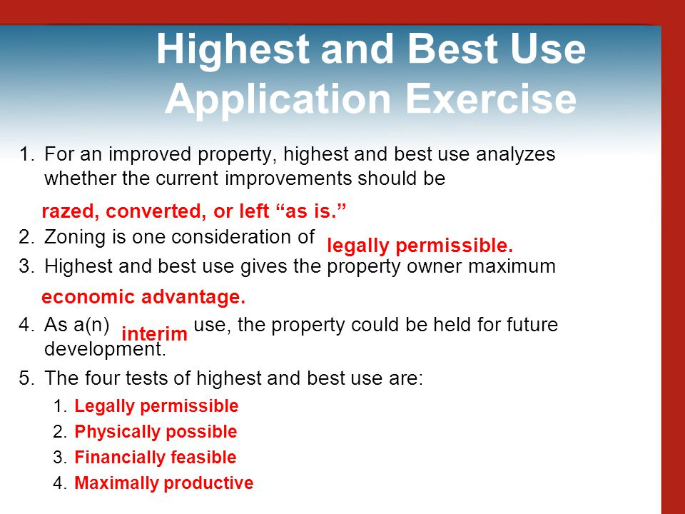 Highest and Best Use Application Exercise