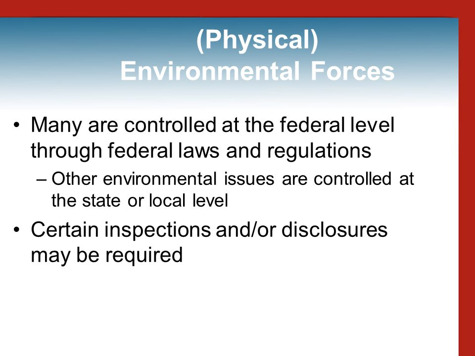 (Physical) Environmental Forces