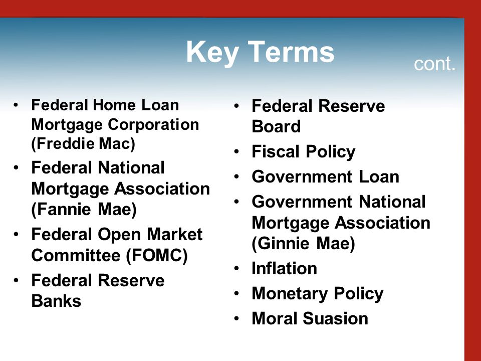 Key Terms cont. Federal Reserve Board Fiscal Policy
