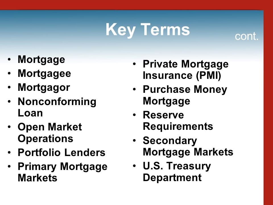 Key Terms cont. Mortgage Private Mortgage Insurance (PMI) Mortgagee