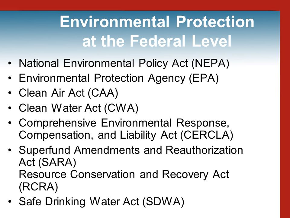 Environmental Protection at the Federal Level