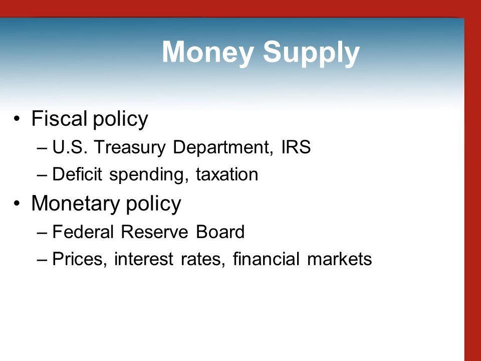 Money Supply Fiscal policy Monetary policy
