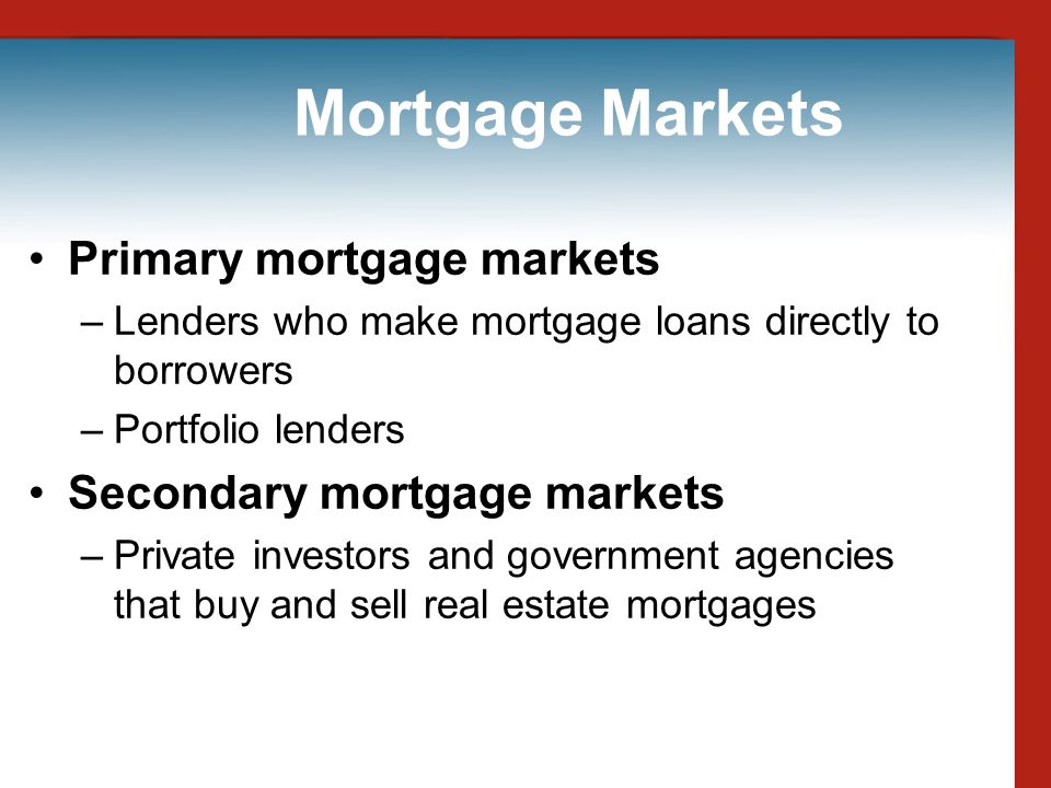 Mortgage Markets Primary mortgage markets Secondary mortgage markets