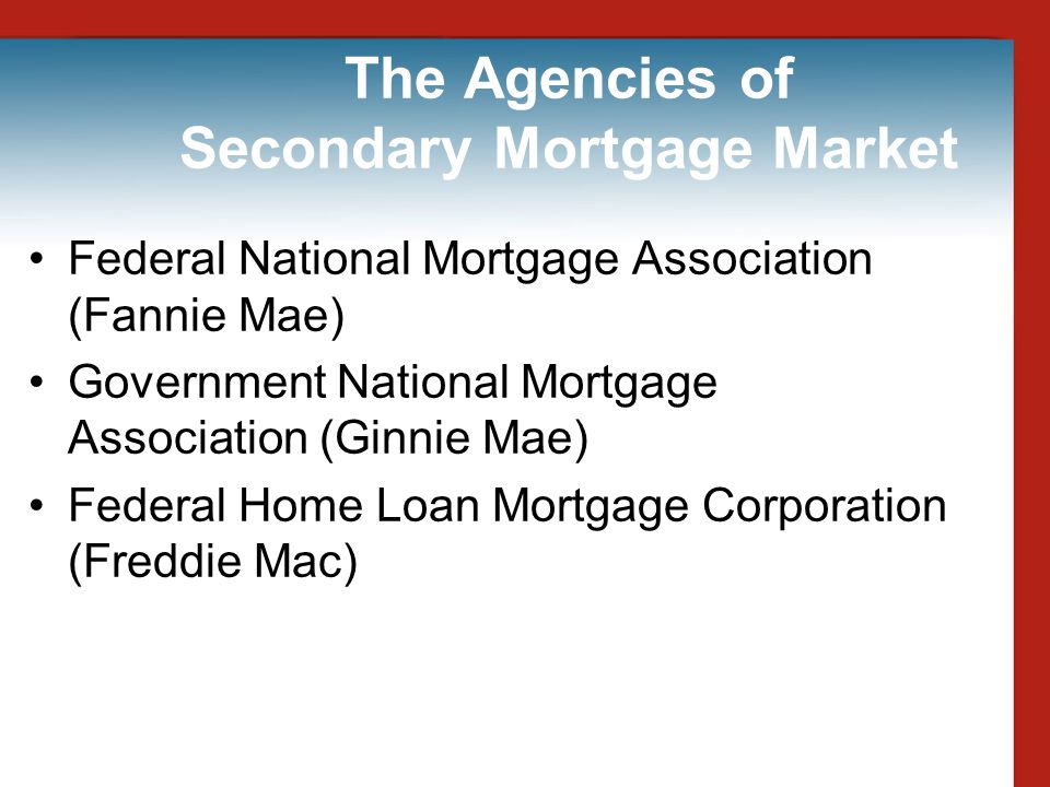The Agencies of Secondary Mortgage Market