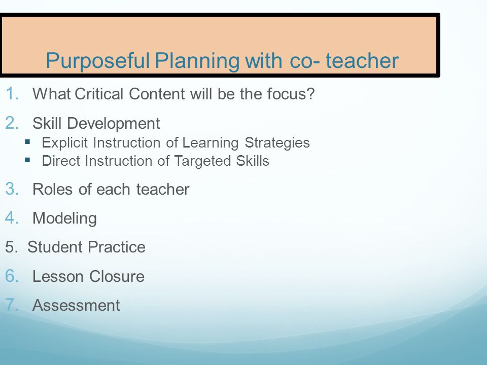 Purposeful Planning with co- teacher