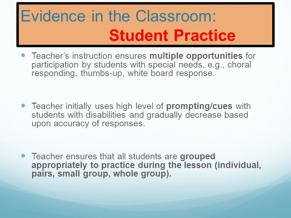 Evidence in the Classroom: Student Practice