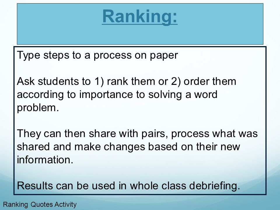Ranking: Type steps to a process on paper