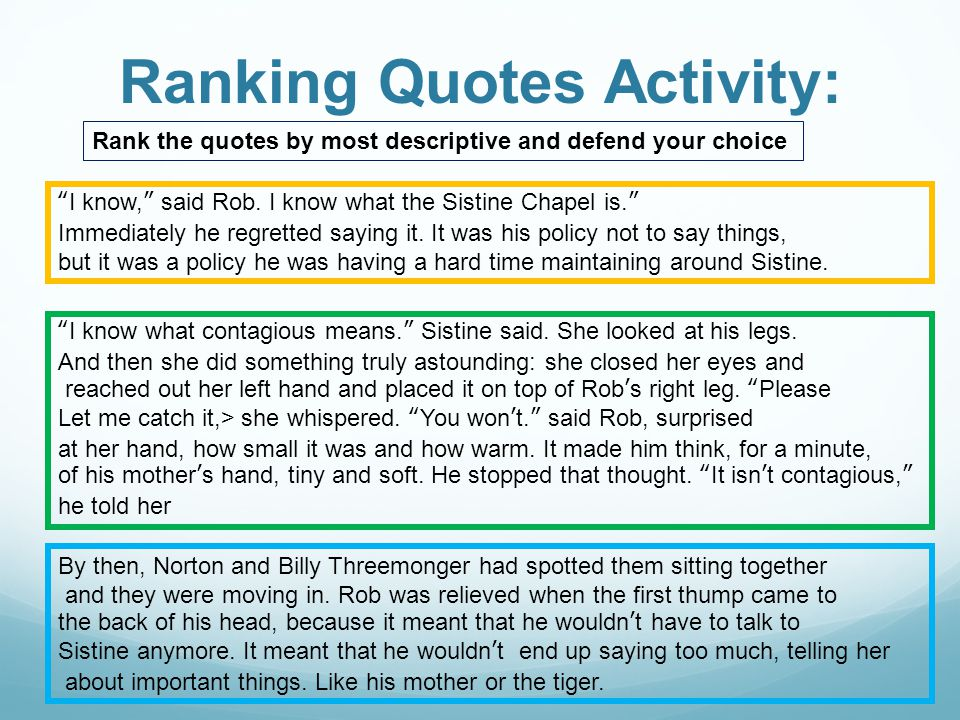 Ranking Quotes Activity: