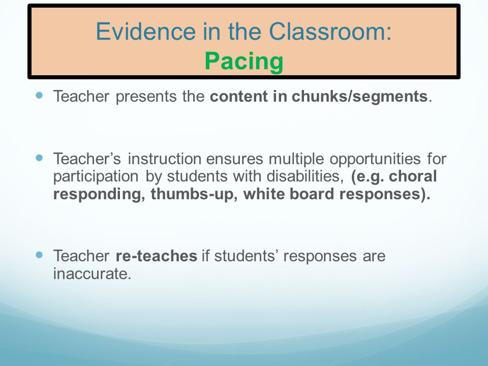 Evidence in the Classroom: Pacing