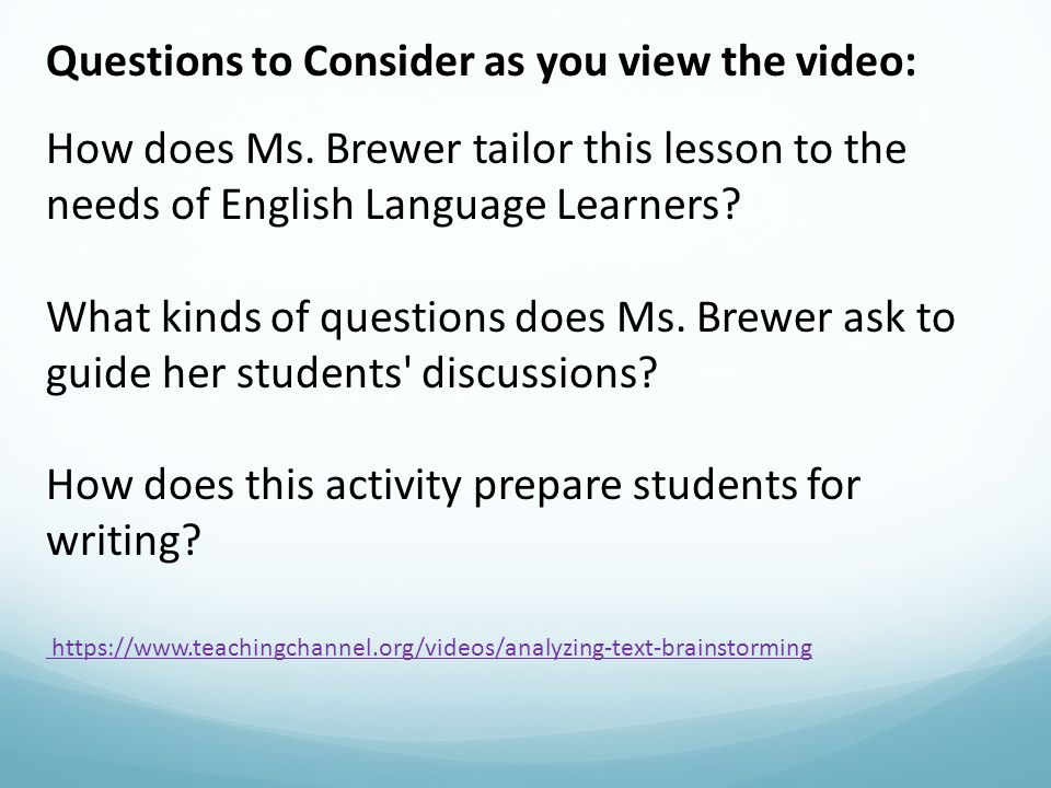Questions to Consider as you view the video: