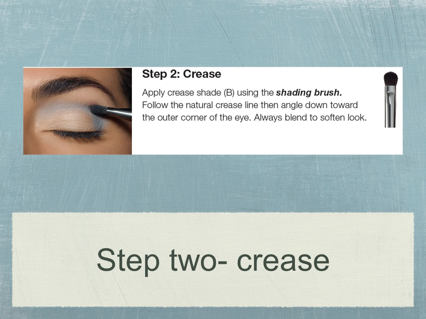 Step two- crease