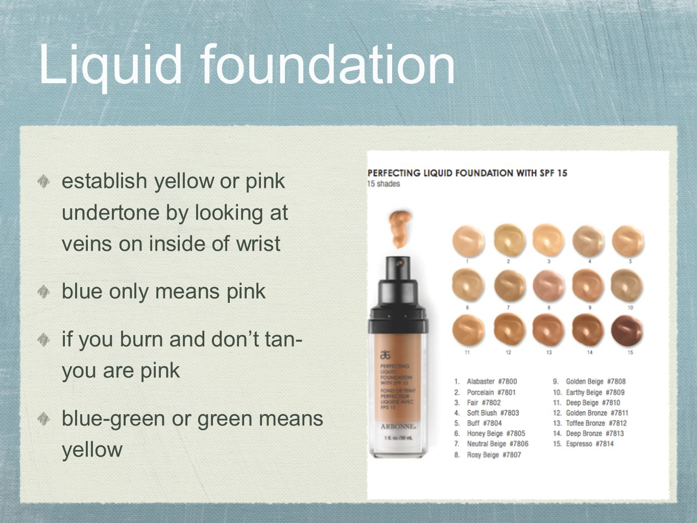 Liquid foundation establish yellow or pink undertone by looking at veins on inside of wrist. blue only means pink.