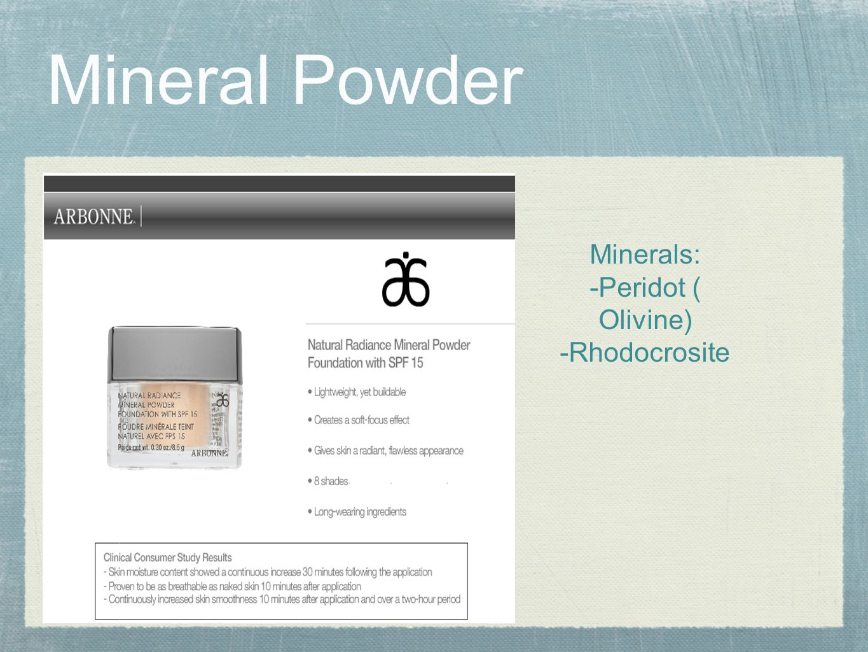 Mineral Powder MIne Minerals: -Peridot ( Olivine) -Rhodocrosite