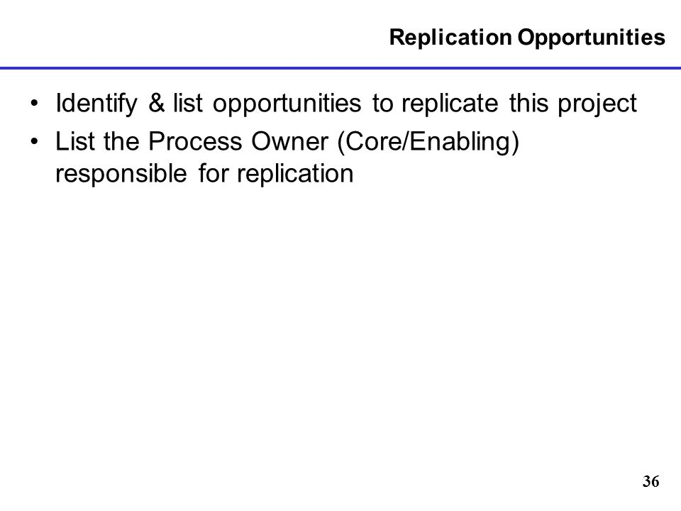 Replication Opportunities