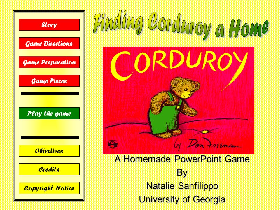 A Homemade PowerPoint Game By Natalie Sanfilippo University of Georgia