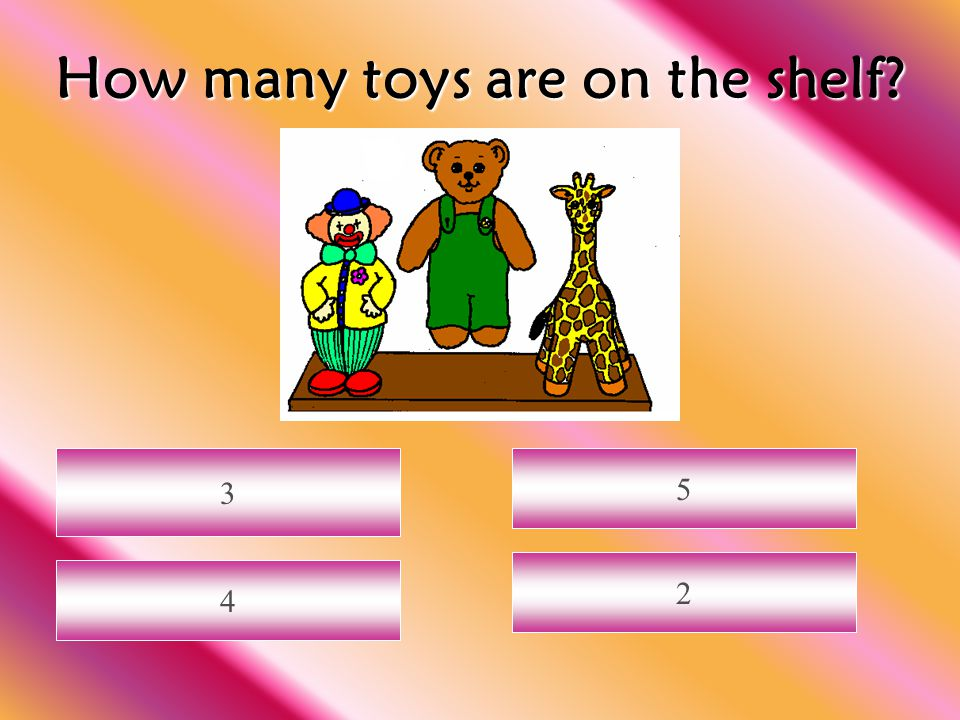 How many toys are on the shelf