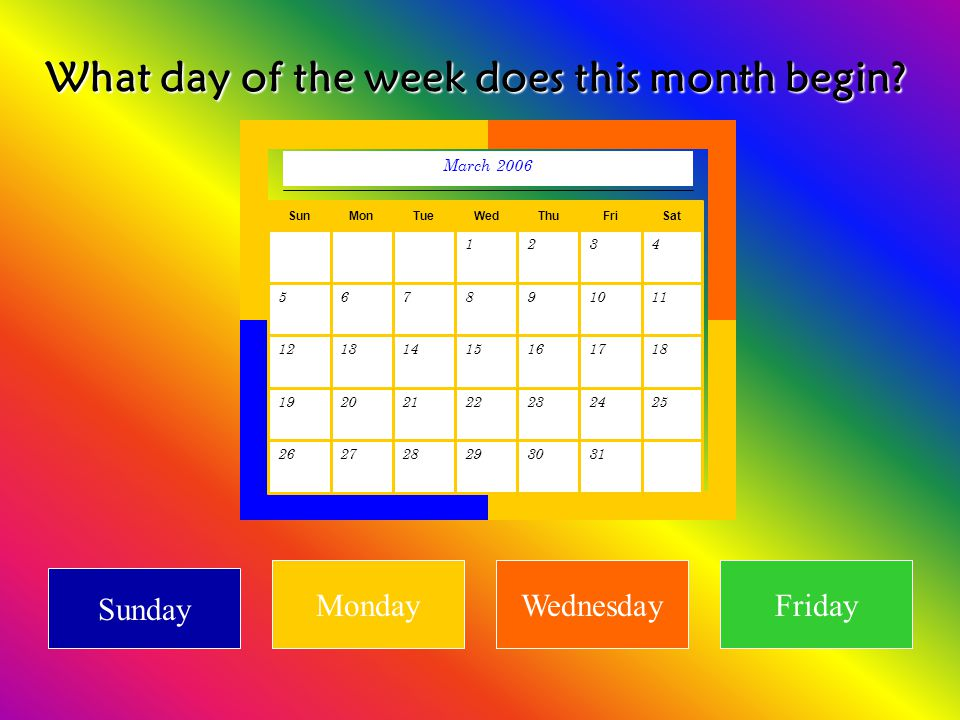 What day of the week does this month begin