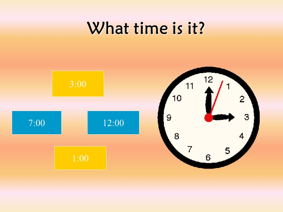 What time is it 3:00 7:00 12:00 1:00