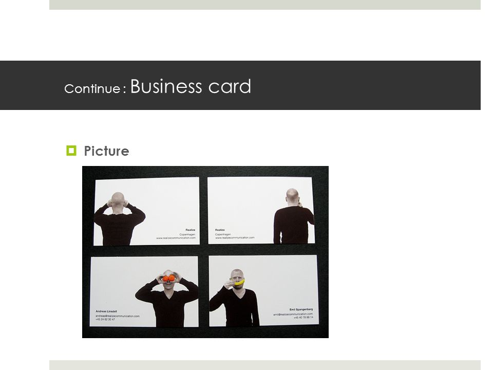 Continue : Business card