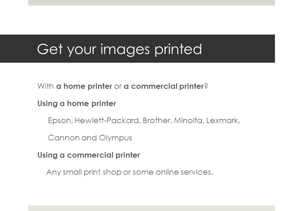 Get your images printed