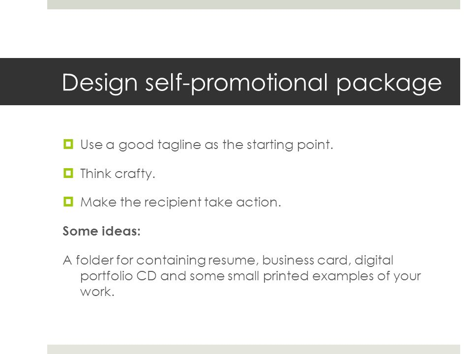 Design self-promotional package