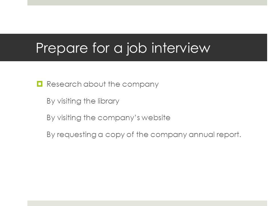 Prepare for a job interview