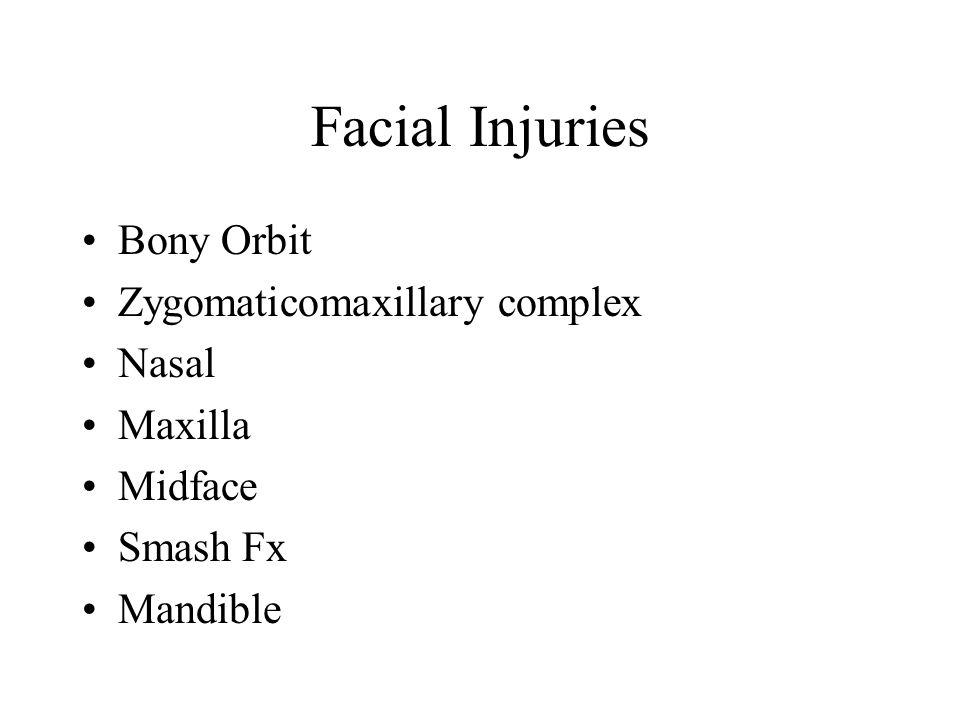 Facial Injuries Bony Orbit Zygomaticomaxillary complex Nasal Maxilla