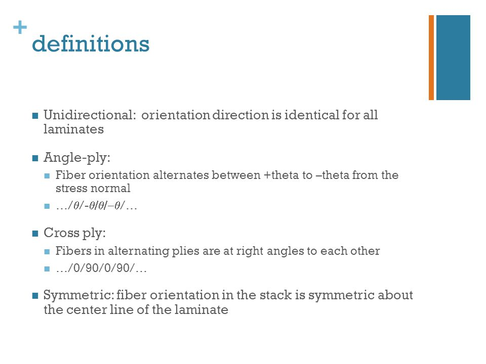 definitions Unidirectional: orientation direction is identical for all laminates. Angle-ply: